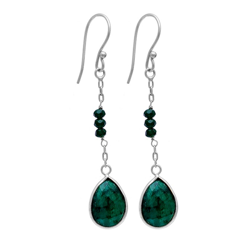 Pear Round Shape Emerald Gemstone 925 Sterling Silver Gold Plated Dangle Earrings