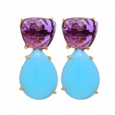 Amethyst Aqua Chalcedony Gemstone 925 Sterling Silver Gold Plated Stud Earrings