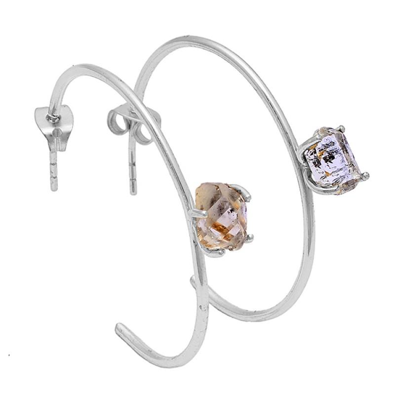 925 Sterling Silver Herkimer Diamond Gemstone Gold Plated Hoop Earrings