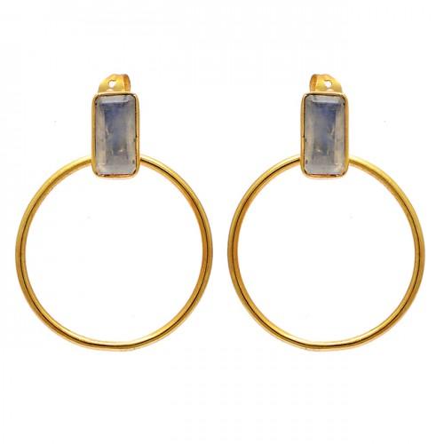 925 Sterling Silver Labradorite Rectangle Shape Gemstone Gold Plated Earrings
