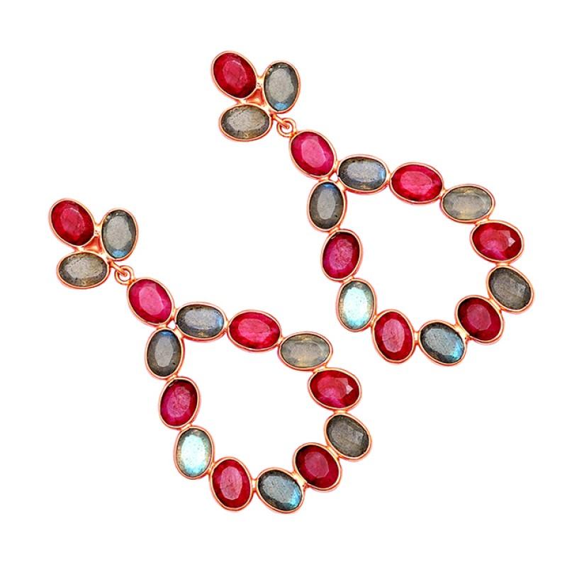 925 Sterling Silver Labradorite Ruby Gemstone Gold Plated Stud Dangle Earrings