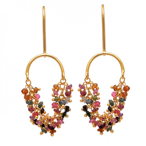 925 Sterling Silver Multi Tourmaline Roundel Beads Gemstone Gold Plated Earrings