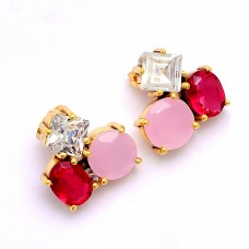 Ruby Chalcedony Cz Gemstone 925 Sterling Silver Gold Plated Stud Earrings