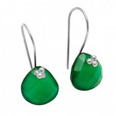 Briolette Heart Shape Green Onyx Gemstone 925 Sterling Silver Gold Plated Earrings Jewelry