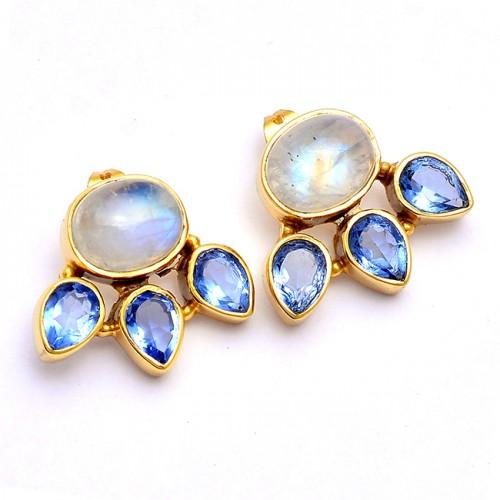 925 Sterling Silver Moonstone Tanzanite Gemstone Gold Plated Stud Earrings