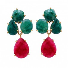 Emerald Ruby Gemstoe 925 Sterling Silver Gold Plated Stud Dangle Earrings