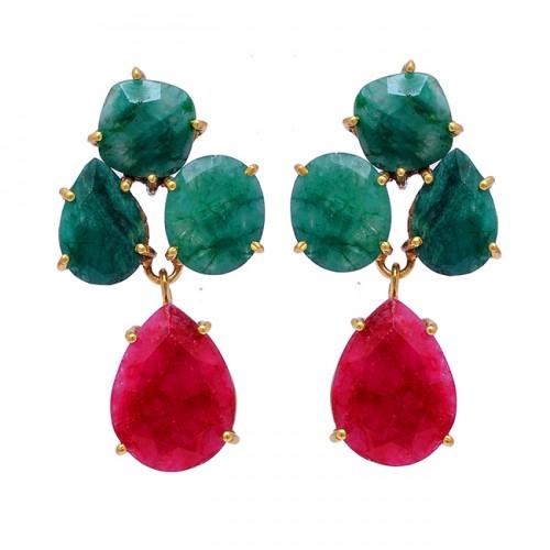 Emerald Ruby Gemstoe 925 Sterling Silver Gold Plated Stud Dangle Earrings