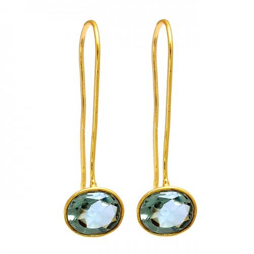 Blue Topaz Oval Shape Gemstone 925 Sterling Silver Gold Plated Earrings
