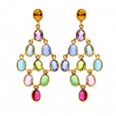 925 Sterling Silver Oval Shape Multi Color Gemstone Gold Plated Stud Earrings