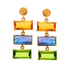 Rectangle Shape Citrine Labradorite Peridot Gemstone Gold Plated Stud Earrings