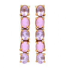 Oval Shape Amethyst Rose Chalcedony Gemstone 925 Silver Gold Plated Earrings