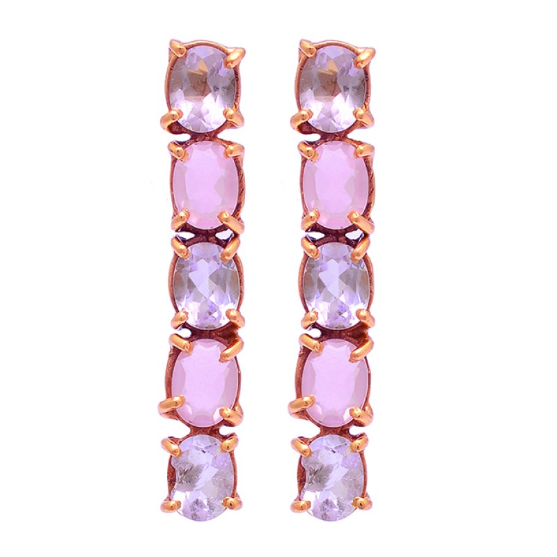 Oval Shape Amethyst Rose Chalcedony Gemstone 925 Silver Gold Plated Earrings