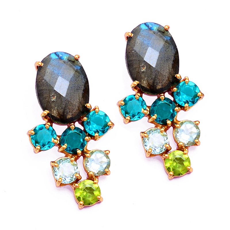 925 Sterling Silver Prong Setting Multi Color Gemstone Gold Plated Earrings