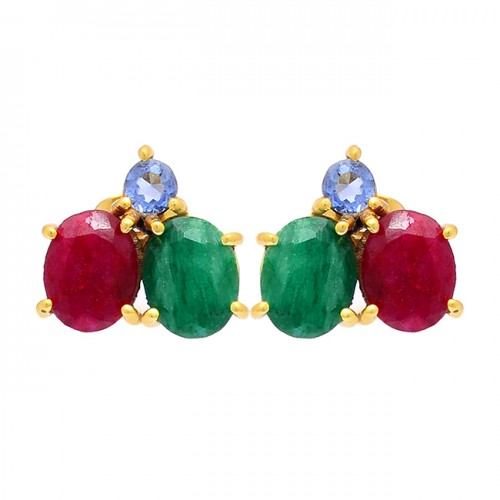 Tanzanite Emerald Ruby Gemstone 925 Sterling Silver Gold Plated Earrings