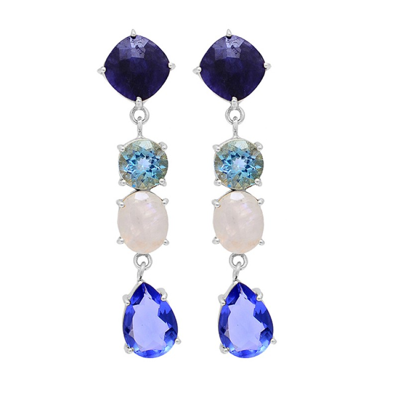 Sapphire Topaz Moonstone Tanzanite Gemstone 925 Silver Gold Plated Earrings