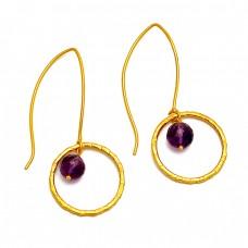 Roundel Balls Amethyst Gemstone Gold Plated Hoop Dangle Silver Earrings