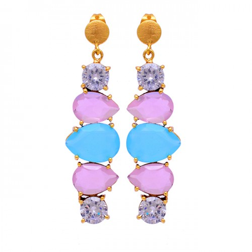 925 Sterling Silver Cubic Zirconia Chalcedony Gemstone Gold Plated Earrings