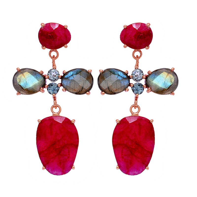 Labradorite Ruby Blue Topaz Gemstone 925 Sterling Silver Gold Plated Earrings