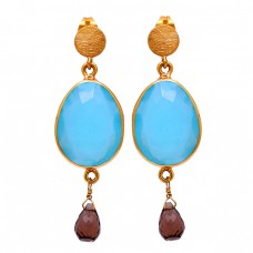 Aqua Chalcedony Smoky Quartz Gemstone 925 Sterling Silver Gold Plated Earrings