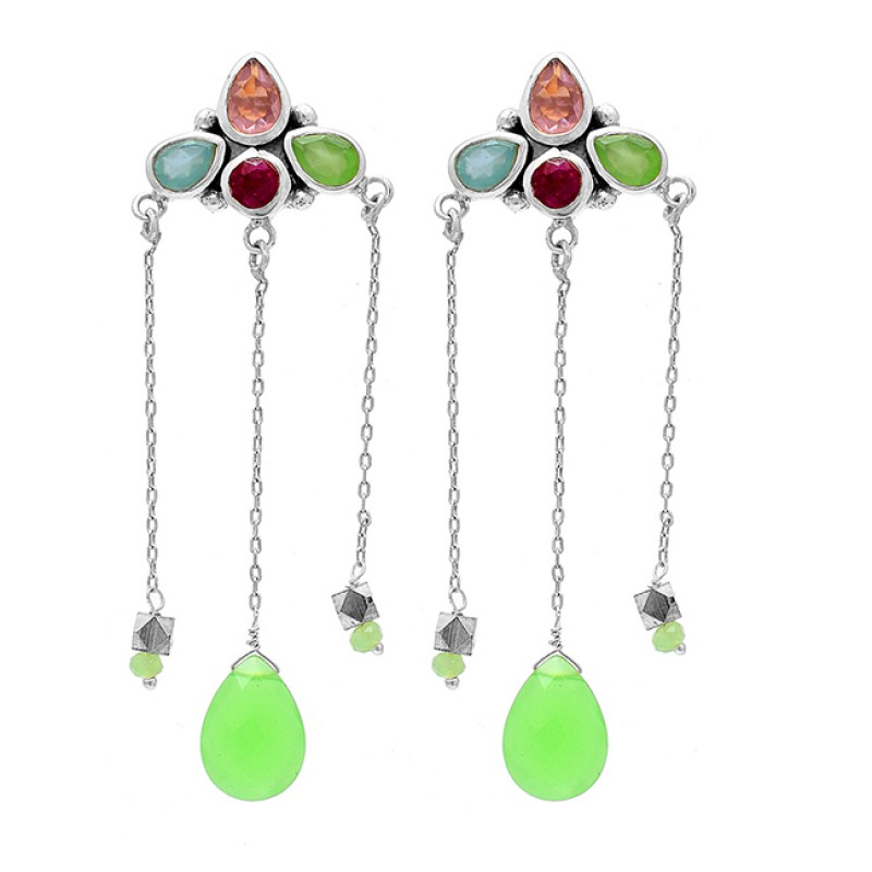 925 Sterling Silver Chalcedony Rose Quartz Ruby Gemstone Gold Plated Earrings