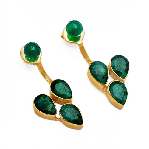 Green Onyx Emerald Gemstone 925 Sterling Silver Gold Plated Stud Earrings