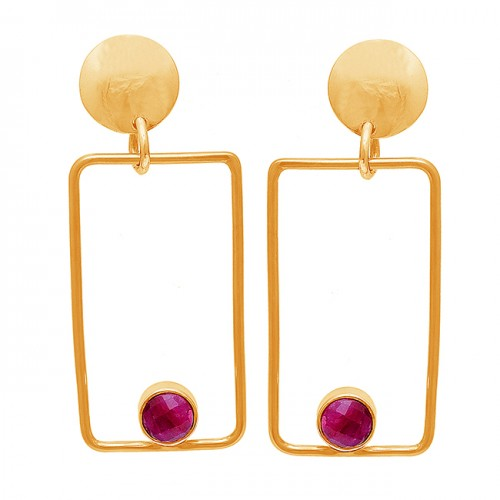 Round Shape Ruby Gemstone 925 Sterling Silver Gold Plated Stud Dangle Earrings