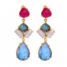 925 Sterling Silver Labradorite Ruby Moonstone Gold Plated Stud Dangle Earrings