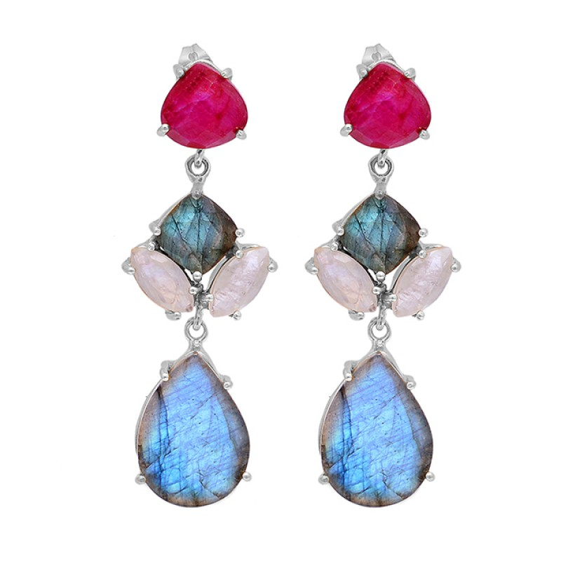 925 Sterling Silver Labradorite Ruby Moonstone Gold Plated Stud Dangle Earrings