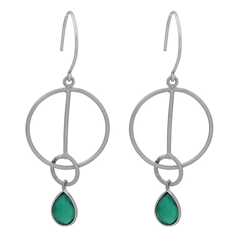 Pear Shape Green Onyx Gemstone 925 Sterling Silver Gold Plated Dangle Earrings