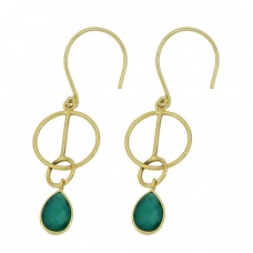 925 Sterling Silver Pear Shape Green Onyx Gemstone Gold Plated Dangle Earrings