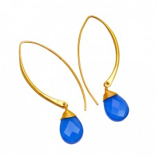 Blue Chalcedony Pear Shape Gemstone 925 Sterling Silver Gold Plated Hoop Dangle Earrings