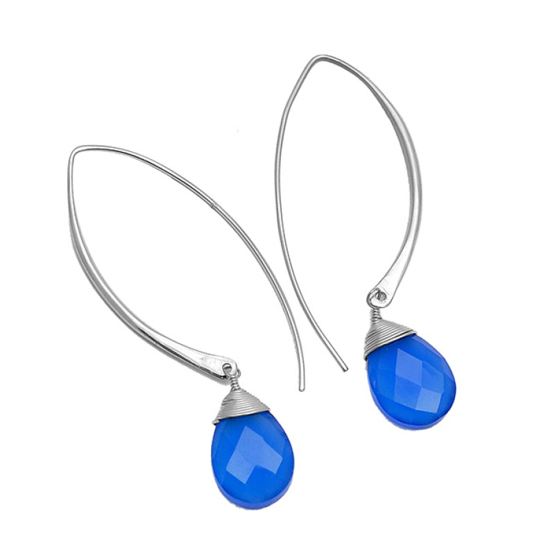 Blue Chalcedony Pear Shape Gemstone 925 Sterling Silver Gold Plated Hoop Dangle Earrings