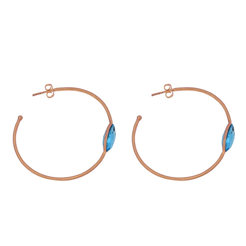 925 Sterling Silver Oval Shape Blue Topaz Gemstone Gold Plated Hoop Earrings