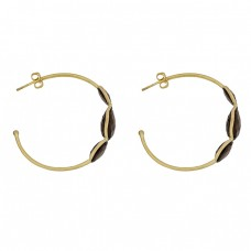 925 Sterling Silver Smoky Quartz Gemstone Gold Plated Hoop Earrings