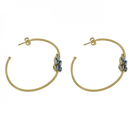 925 Sterling Silver Blue Topaz Marquise Shape Gemstone Gold Plated Hoop Earrings