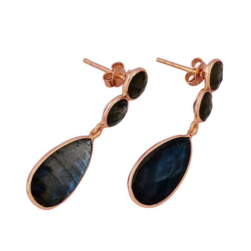 925 Sterling Silver Labradorite Gemstone Gold Plated Stud Dangle Earrings