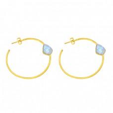 Rainbow Moonstone Fancy Shape Gemstone 925 Silver Gold Plated Earrings
