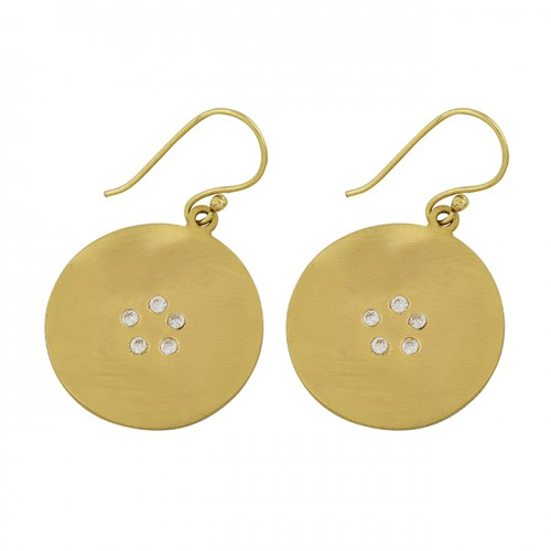 925 Sterling Silver Cubic Zirconia Gemstone Gold Plated Dangle Earrings