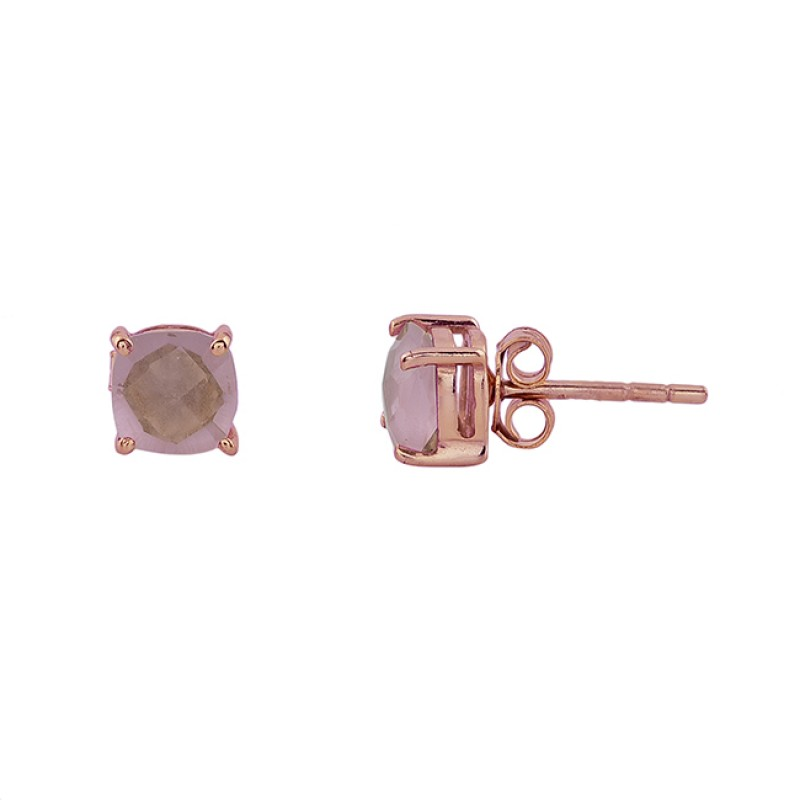 Rose Chalcedony Cushion Shape Gemstone 925 Silver Gold Plated Stud Earrings