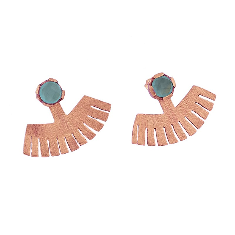 Round Shape Aqua Chalcedony Gemstone 925 Sterling Silver Gold Plated Earrings