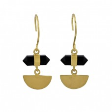 Pencil Shape Black Onyx Gemstone 925 Sterling Silver Gold Plated Dangle Earrings