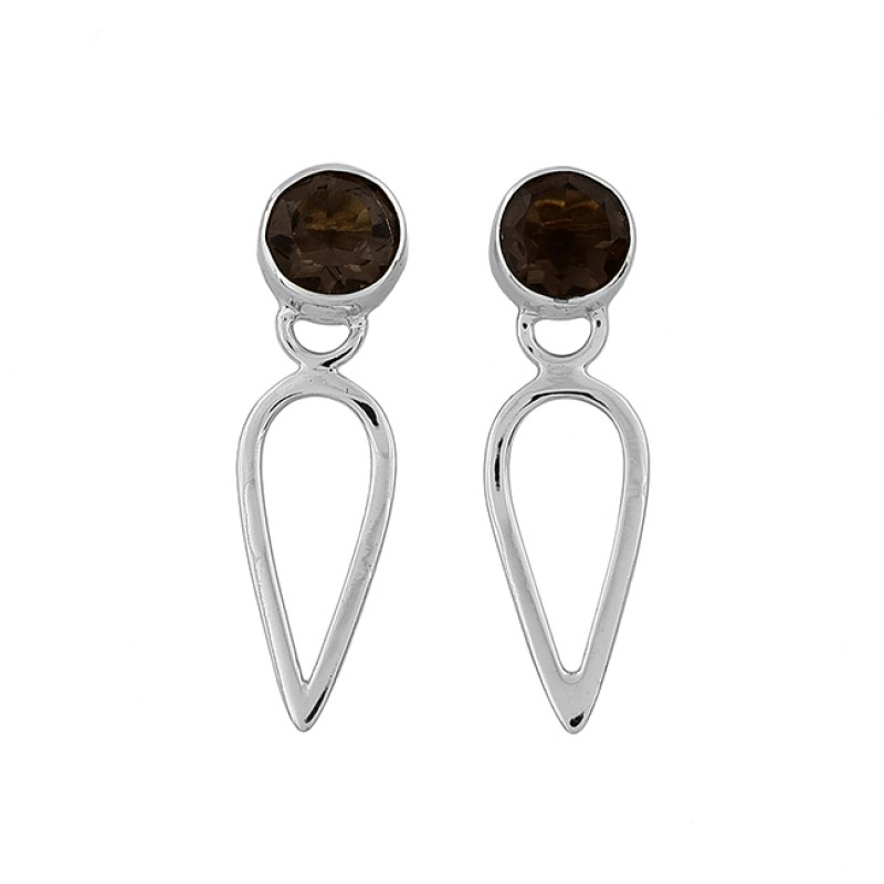 Round Shape Smoky Quartz Gemstone 925 Sterling Silver Gold Plated Stud Earrings
