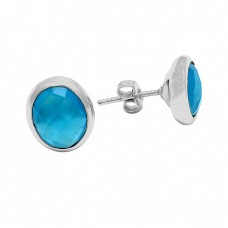 Briolette Oval Blue Chalcedony Gemstone 925 Sterling Silver Gold Plated Stud Earrings