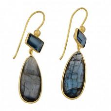 925 Sterling Silver Labradorite Blue Topaz Gemstone Gold Plated Earrings