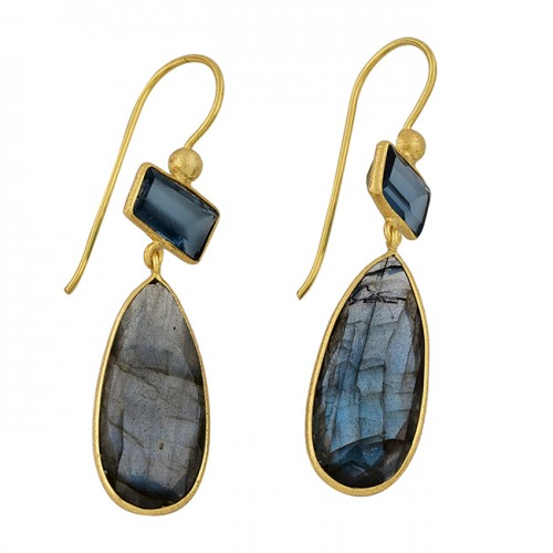 925 Sterling Silver Labradorite Blue Topaz Gemstone Gold Plated Earrings