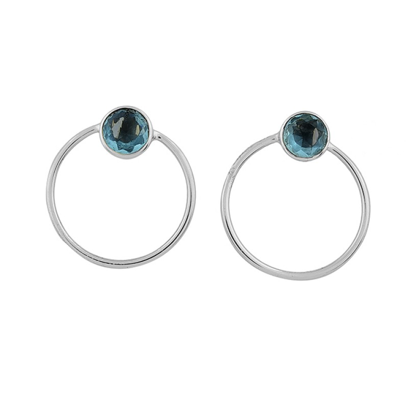 925 Sterling Silver Round Shape Blue Topaz Gemstone Gold Plated Stud Earrings