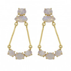 925 Sterling Silver Rainbow Moonstone Gold Plated Dangle Stud Earrings