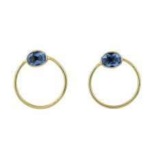Oval Shape Blue Topaz Gemstone 925 Sterling Silver Gold Plated Stud Earrings