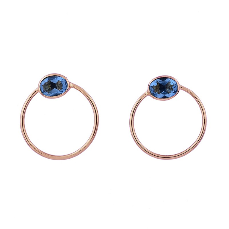 Oval Shape Blue Topaz Gemstone 925 Sterling Silver Gold Plated Stud Earrings