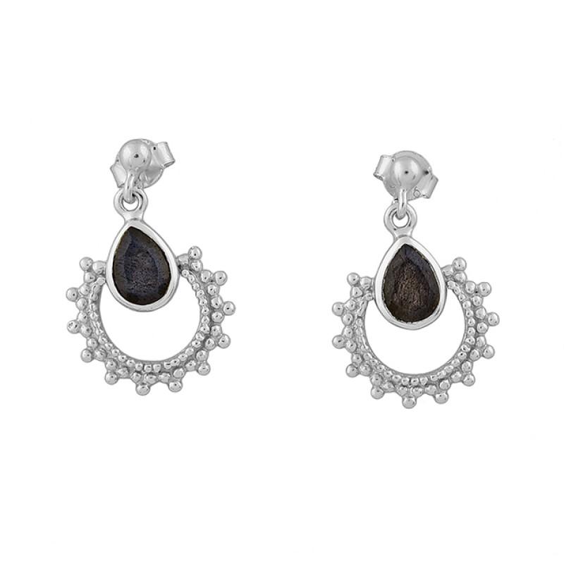 Labradorite Pear Shape Gemstone 925 Sterling Silver Gold Plated Stud Earrings
